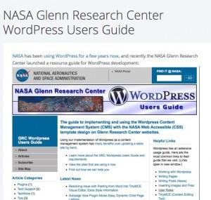 NASA Glenn Research Center WordPress Users Guide on WordPress