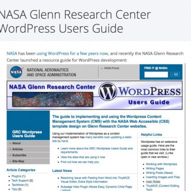 NASA GRC WordPress Users Guide Gets a Spotlight